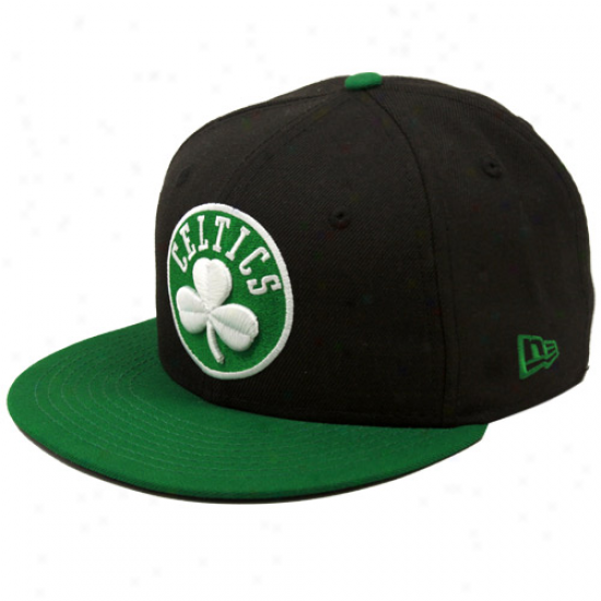 New Era Boston Celtics Black Primary Logo 59fifty Flat Bill Fitted Hat