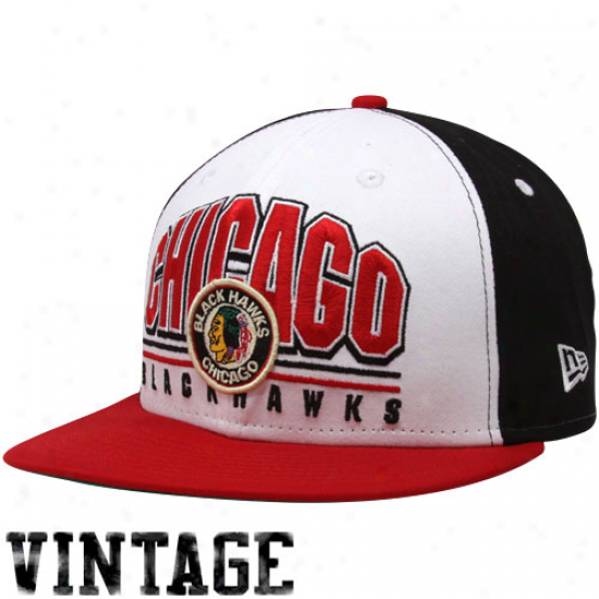 New Era Chicago Blackhawks Black-white Hardwood Classics Monolith 9fifty Snapback Adjustable Hat