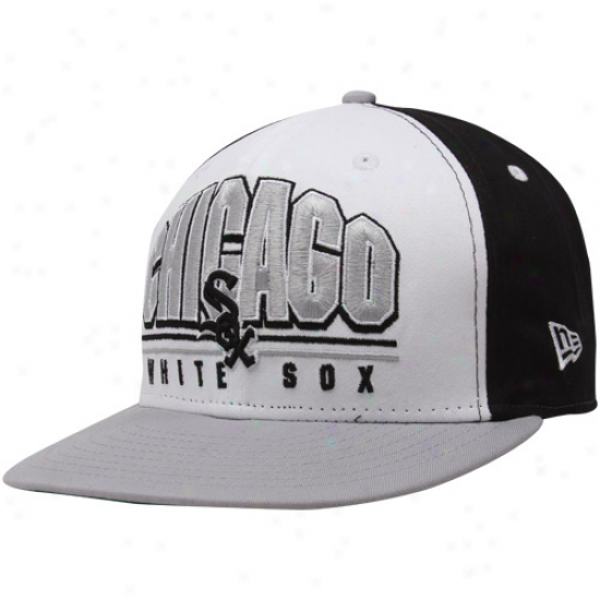 New Era Chicago White Sox Black-white-silver Monolitn 9fifty Snapback Adjustable Cardinal's office
