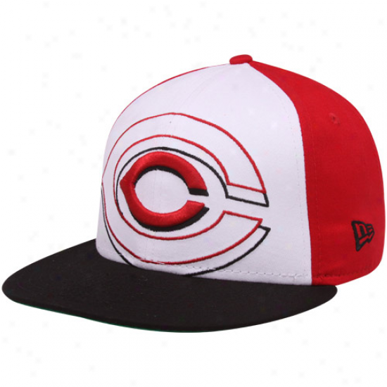 New Era Cincinnati Reds Black-white-red Little Big Report 9fifty Snapback Adjustable Hat