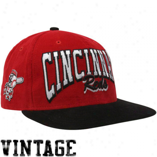 New Era Cincinnati Reds Red-black 9fifty Corduroy Snapbacl Adjustable Hat