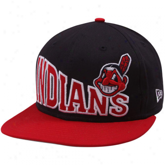 New Era Cleveland Indians Black-red Stoked Snapback Hat