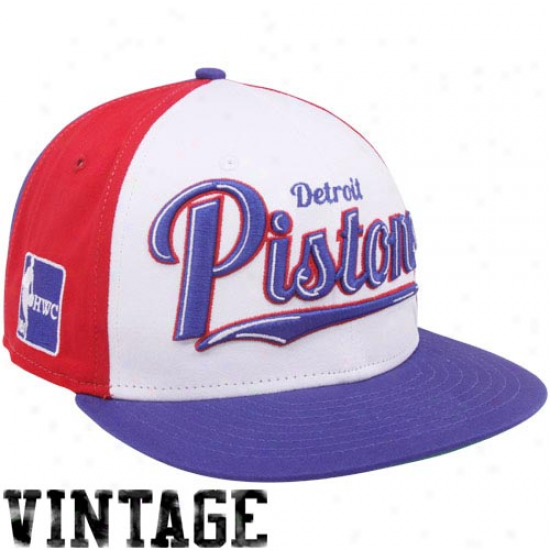 New Era Detroit Pistons Royal Blue-red-white Script 9fifty Wheel Snapback Adjustable Hat