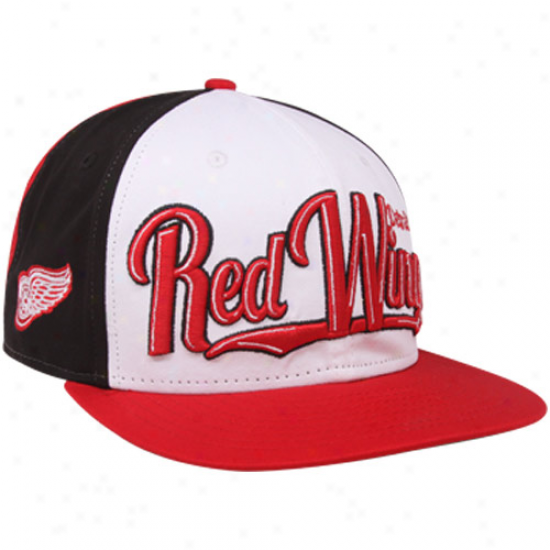 New Era Detroit Red Wings Red-black-white 9fifty Script Wheel Snapback Adjustable Hat