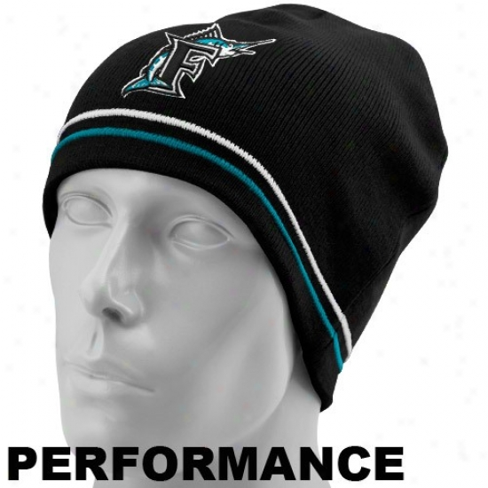 New Era Florida Marlins Black Mlb Authentic Cooperstown Toque Performance Knit Beanie