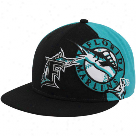 New Era Florida Marlins Black-teal Cooperstown Side Fill 59fifty Fitted Hat