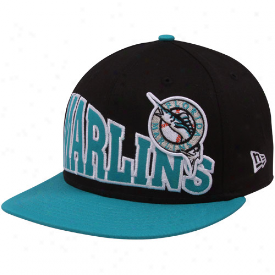 Repaired Era Florida Marlins Black-teal Cooperstown Stoked Snapback Hat