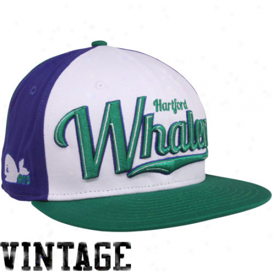 New Era Haetford Whalers White-green-royal Blue 9fifty Script Wheel Snapback Adjustable Hat