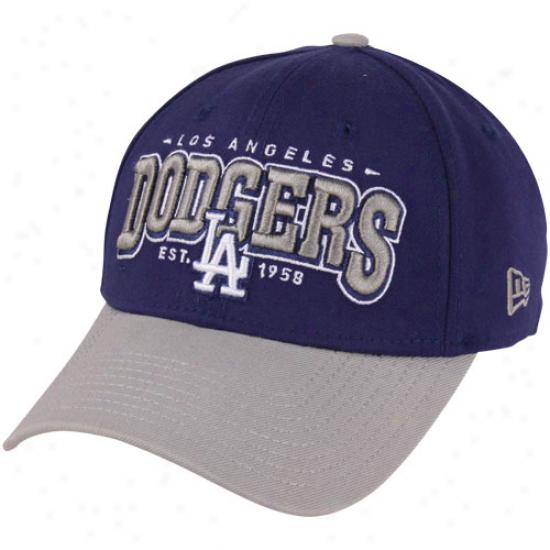 New Era L.a. Dodgers 39thirty Retro Elegant Flex Hat - Royal Blue/gray