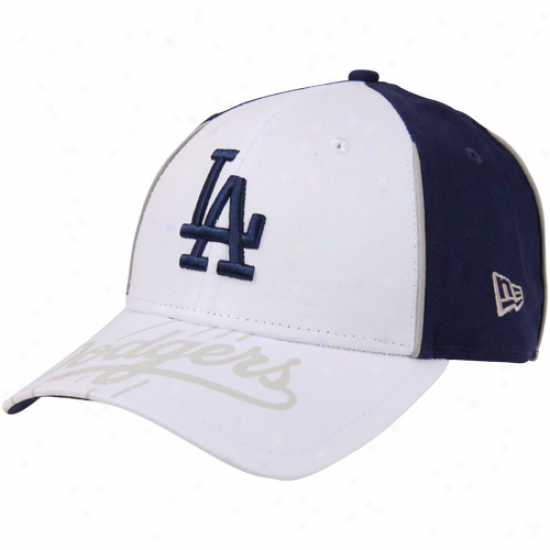 New Era L.a ..Dodgers Tetrad Adjustable Hat - White-royal Blue