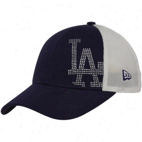 New Era L.a. Dodgers Youth Girls Royal Blue-white Jersey Shimmer Mesh Back Adjustable Hat