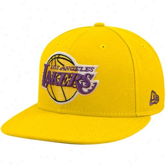 New Era Los Angeles Lakers Gold 59fifty Primary Logo Flat Brim Fitted Hat