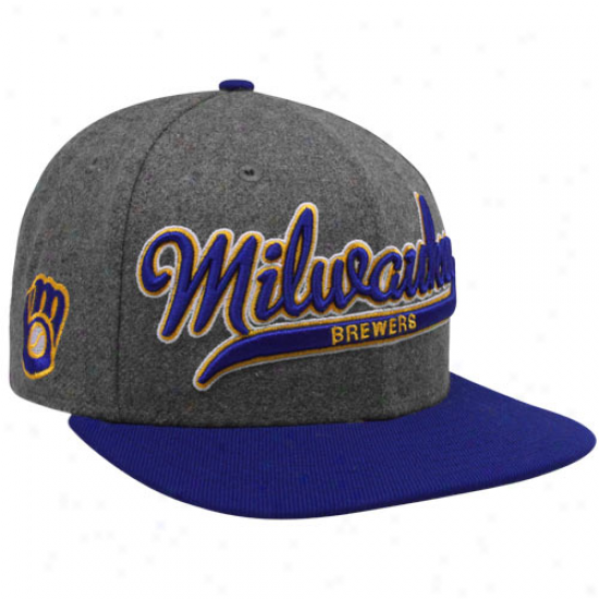 New Era Milwaukee Brewers Heather Gray-royal Blue Scripter Ii Snapback Adjustable Hat