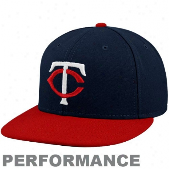 New Era Minnesota Twins Navy Blue-red Official On-field Performance Fitted Hat