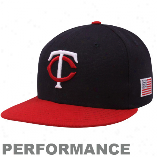 New Era Minnesota Twins Navy Blue-red On-field 59fifty Usa Flag Fitted Performance Hat