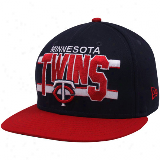 New Era Minnesota Twins Navy Blue-red Word Stripe 9fifty Snapback Adjustable Hat