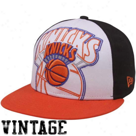 New Era New York Knicks Orange-white-black Little Big Pop 9fifty Snapback Adjustable Hat