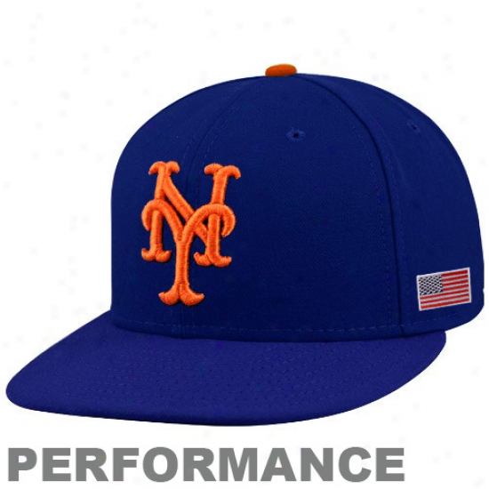 New Era New York Mets Royal Blue On-field 59fifty Usa Flag Fitted Performance Hat