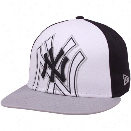 New Era New York Yankees Grayy-white-navy Blue Little Big Pop 9fifty Snapback Adjustable Hat