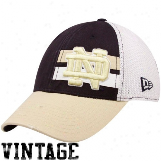 New Era Notre Mistress Fighting Irish Navy Blue Double Stripe Vintage Flex Hat