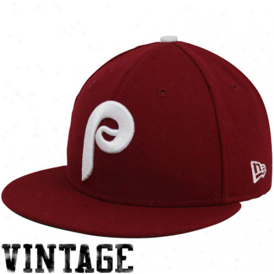 New Era Philadelphia Phillies Maroon 1980 Throwback Cooperstlwn On-field 59fifty Fitted Hat