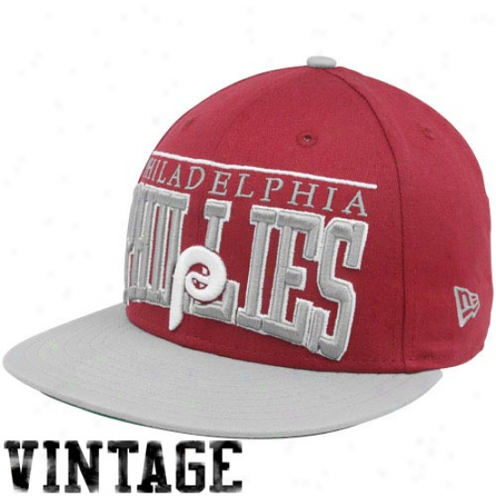 New Era Philadelphia Phillies Red-gray 9fifty Vintage Le Arch Snapback Adjustable Hat