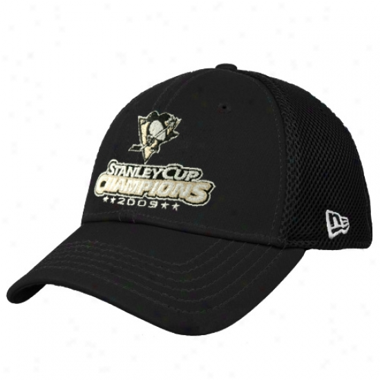 New Era Pittsburgh Penguins 2009 Nhl Stanley Cup Champions Blacl Neo 39thirty Stretch Fit Hat