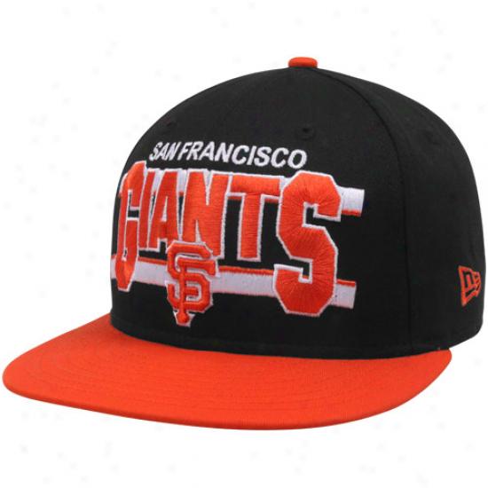 New Era San Francisco Giants Black-orange Word Stripe 9fifty Snapback Adjustable Hat