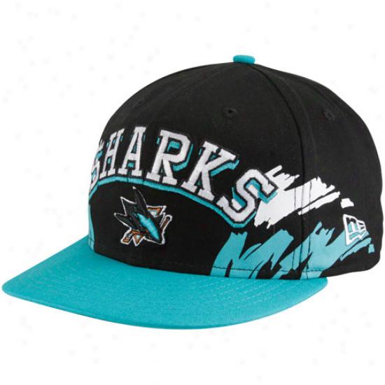 New Era San Jose Sharks Black-teal Side Snapback 9fifty Adjustqble Hat