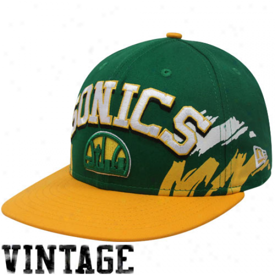 New Era  Seattle Supersonics Green-gold Hardwood Classics Side Snapback 9fifty Adjustable Hat