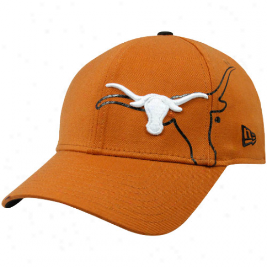 Starting a~ Era Texas Longhorns Burnt Orange 39thirty Faded Flex Hat