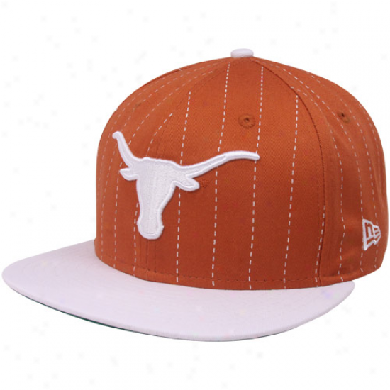 New Era Texas Longhorns Burnt Orange-white 9fifty Pinstripe Snapback Adjustable Hat