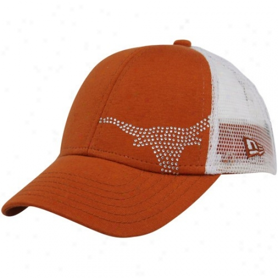 New Era Texas Longhorns Girls Youth Burnt Orange Jersey Shimmer Adjustable Hat