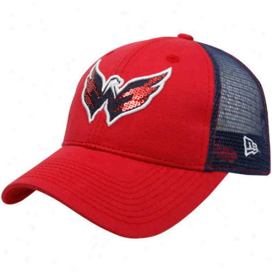 New Era Washington Capitals Ladies Red-navy Blue C-quin Mesh Back Adjustable Hat