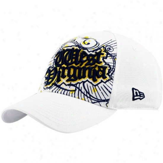 New Era West Virginia Mountaineers White Bhrzt 39thirty Stretch Fit Hat