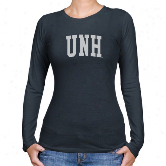 New Hampshire Wildcats Ladies Basic Arch Long Sleeve Slim Fit T-shirt - Navy Blue