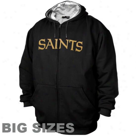 New Orleans Saints Black Big Sizes Thermal Fleece Full Zip Hoodie Sweatshirt