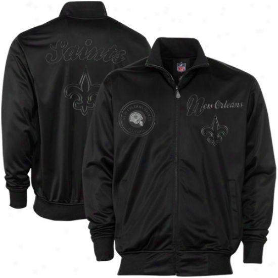 New Orleans Saints Black Pitch Murky Full Zip Track Jacket