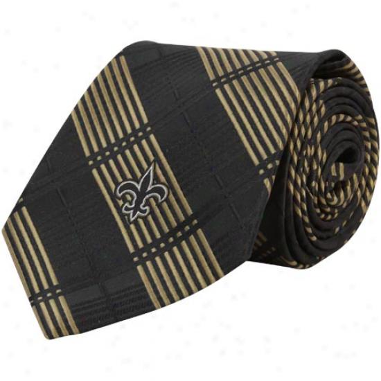New Orleans Saints Black Poly Plaid Woven Tie