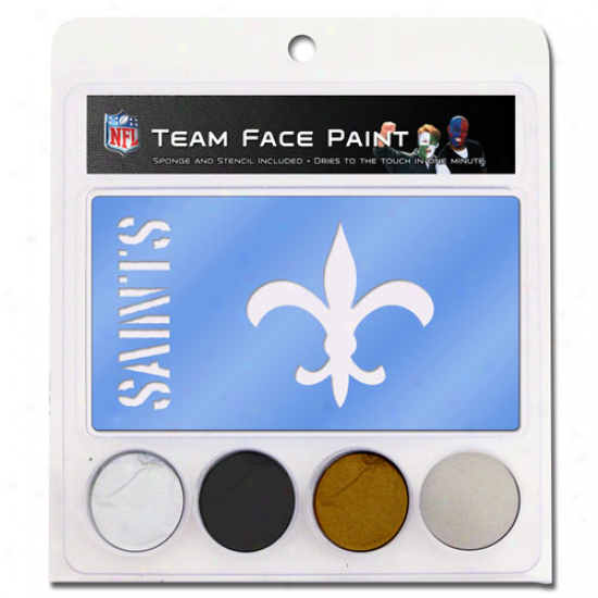 New Orleans Saints Face Paint Wiht Stencils