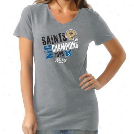 Unaccustomed Orleans Saints Ladi3s Ash 2009 Nfc Champions Triblend V-neck T-shirt