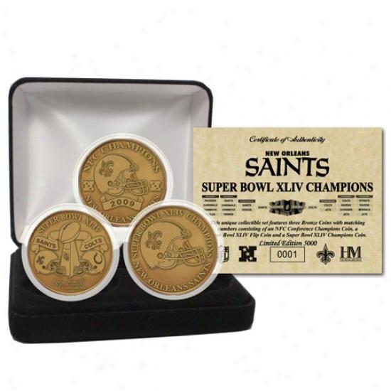 New Orleans Saints Super Bowl Xliv Champions Brass 3 Coin Set