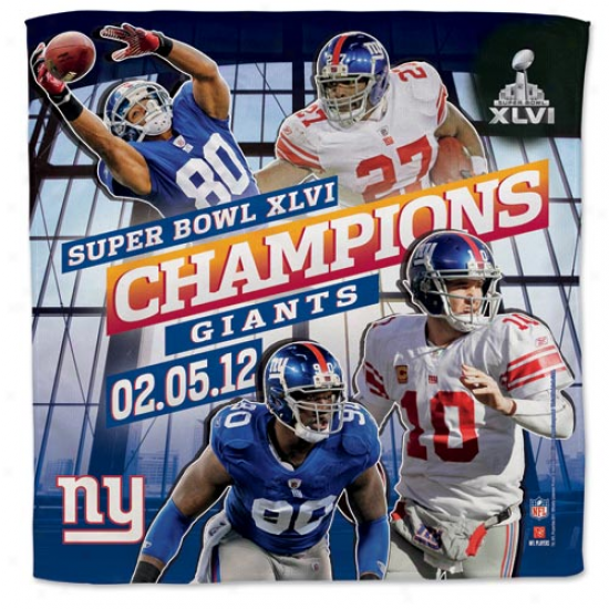 """new York Giants Super Bowl Xlvi Champions 16"""" X 16"""" Player Collector Towel"""