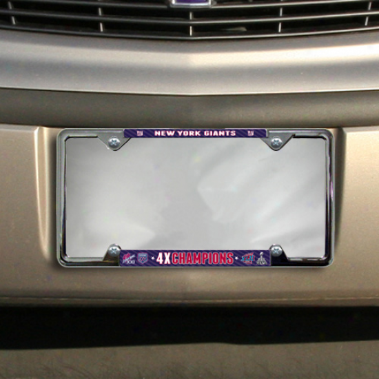 New York Giants Super Bowl Xlvi Champions 4-time Champions Chrome License Plate Frame