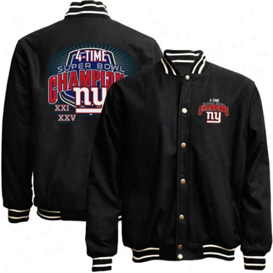 New York Giants Super Bowl Xlvi Championns 4-time Champs Wool Jacket - Black