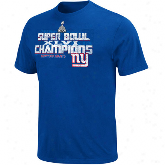 New York Giants Super Bowl Xlvi Champions T-shirt - Royal Blue