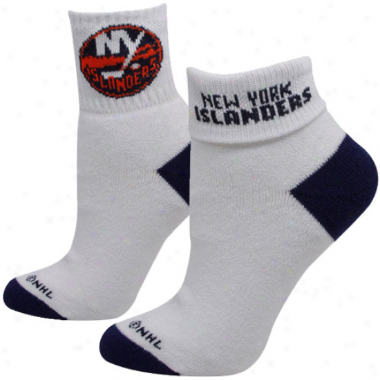 Repaired York Islanders Ladies White-black Roll-down Socks