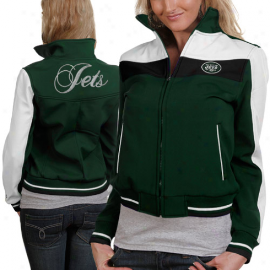 New York Jets Ladies Green Bonded Softshell Full Zip Jacket