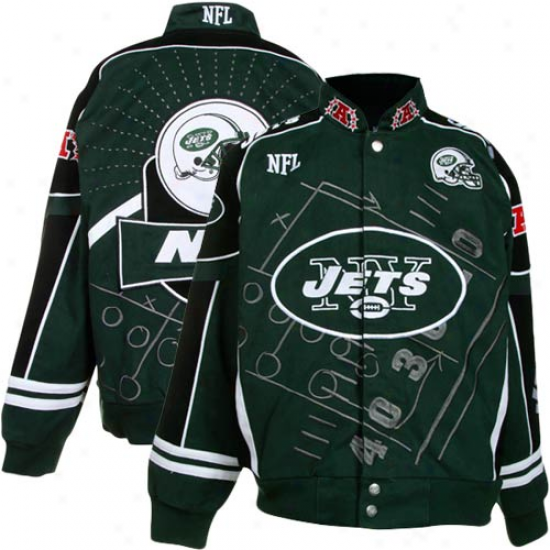 New York Jets Youth Green Scoreboard Full-button Twill Jacket