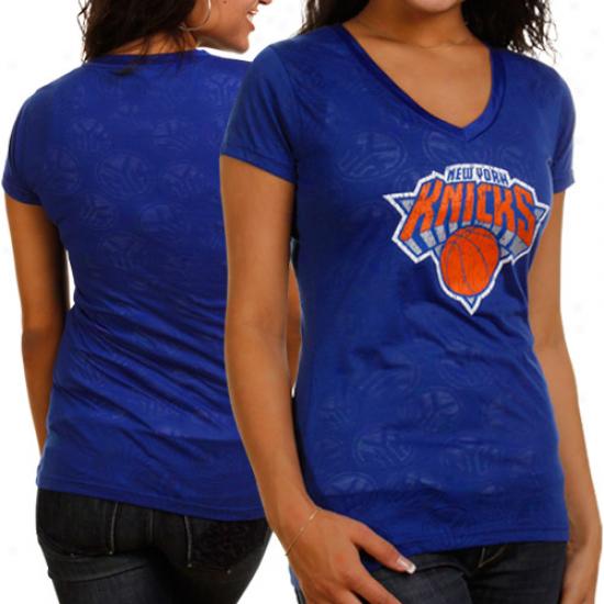 New York Knicks Ladies Stardust Burnout V-neck Be dead T-shirt - Royal Blue